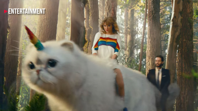 Taylor Swift rides a giant 'caticorn'