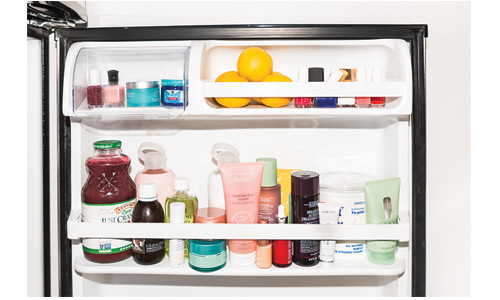 Store skincare products and liquid makeup inside the fridge