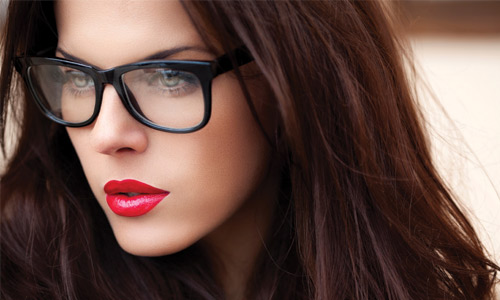 Wearing glasses is also an excuse to wear bold lips.